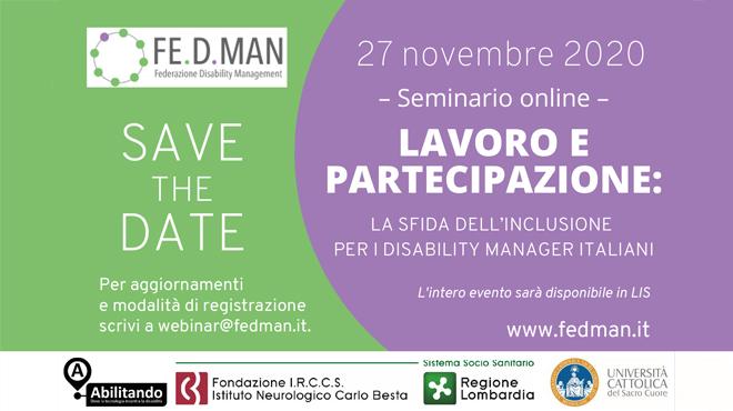 SAVE THE DATE - 27 NOVEMBRE 2020 WEBINAR LAVORO E PARTECIPAZIONE